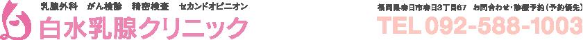 白水乳腺クリニック:乳腺外科、がん検診、精密検査、セカンドオピニオン。TEL/092-588-1003