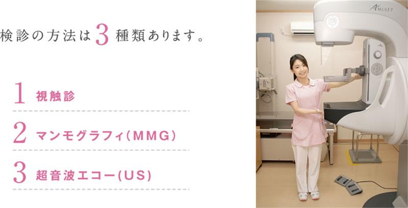 検診の方法は3種類あります。1.視触診 2.マンモグラフィ(MMG) 3.超音波エコー(US)